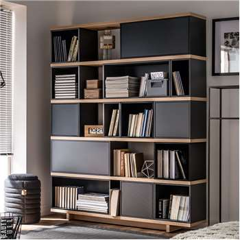 Balance Modular Bookcase in Grey and Oak Effect 170 x 138cm
