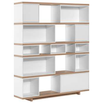 Vox - Balance Modular Bookcase in White and Oak Effect (H170 x W138 x D32cm)