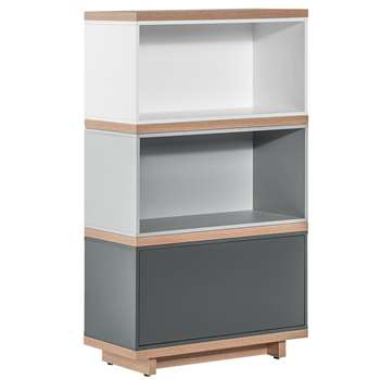 Balance Narrow Modular Bookcase in White and Grey 115 x 64cm