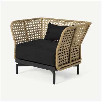 Balawa Garden Armchair, Natural & Grey (H80 x W101 x D76.5cm)