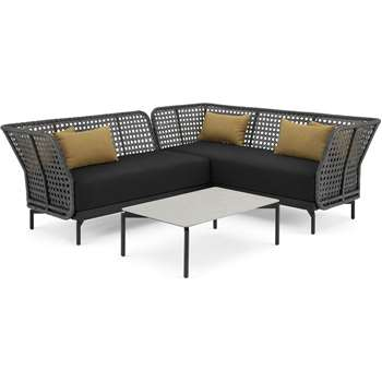 Balawa Garden Corner sofa set, Grey (H79 x W190 x D75cm)