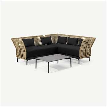 Balawa Garden Corner Sofa Set, Natural & Grey (H80 x W224 x D224cm)