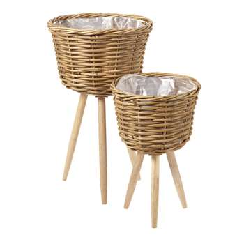 BALI 2 Rattan Planters with Bases (H59.5 x W36 x D36cm)