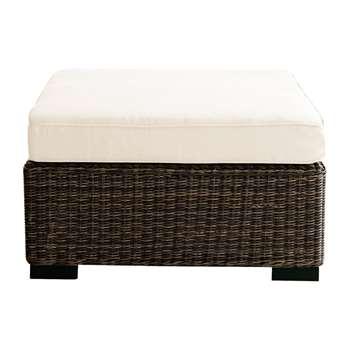 BALI Wicker garden pouffe in brown (31 x 75cm)