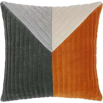 Balico Velvet Panelled Cushion, Burnt Orange (45 x 45cm)