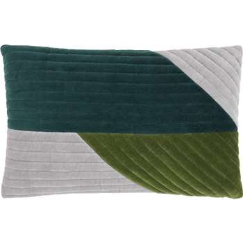 Balico Velvet Panelled Cushion, Teal (30 x 50cm)