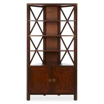 Balmoral Dark 2 Door Corner Bookcase (177 x 90cm)