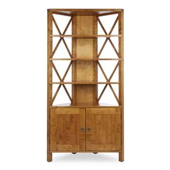 Balmoral Honey 2 Door Corner Bookcase (177 x 90cm)