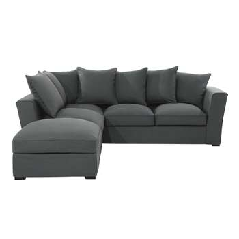 BALTHAZAR 5 seater fabric corner sofa in slate grey (87 x 247cm)