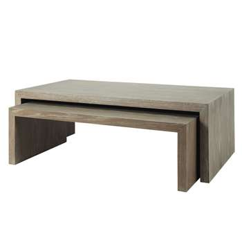 BALTIC Wooden nested coffee tables in grey (43 x 130cm)