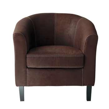 BALTIMORE Microfibre armchair in brown (75 x 75cm)