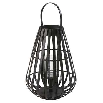 BAMAKO Black Bamboo and Glass Lantern (H54.5 x W39.5 x D39.5cm)