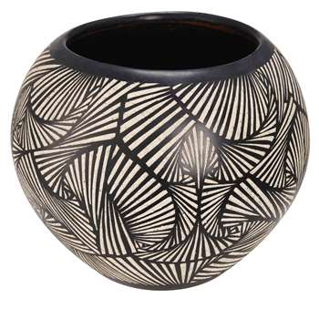 BAMAKO Terracotta Garden Pot With Black And Motifs In White (38 x 44cm)