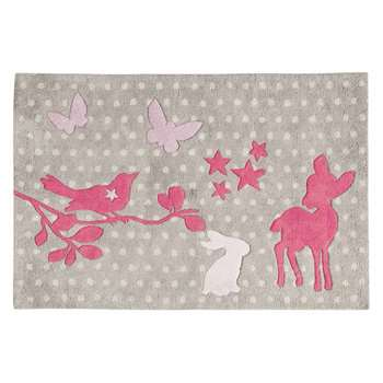 BAMBI cotton polka-dot rug in grey (80 x 120cm)