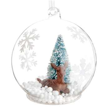 BAMBI Glass Christmas Bauble with Snowflake Prints and Bambi under Christmas Tree (H8 x W8 x D8cm)