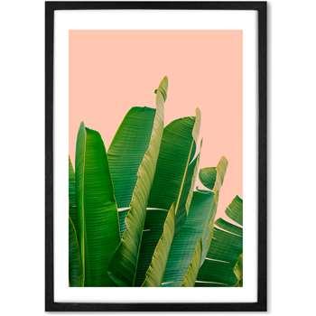 Banana Leaves Botanical Framed Wall Art Print, Pink & Green, A3 (H44 x W33 x D2cm)