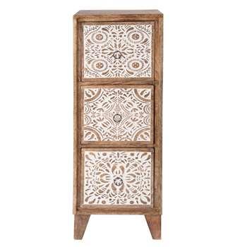 BANDUNG 3-Drawer Mango Wood Storage Unit with Carved White Motifs (H69 x W25 x D25cm)