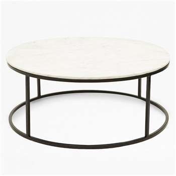 Banswara Marble Coffee Table - White/Multi (H85.5 x W85.5 x D85.5cm)