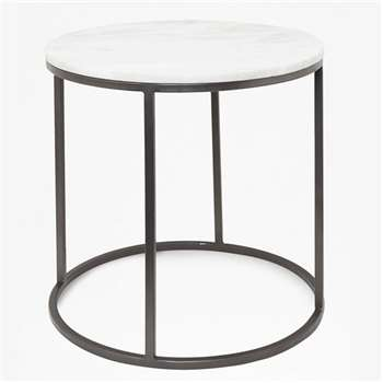 Banswara Marble Side Table - White/Multi (H50.5 x W50.5 x D50.5cm)