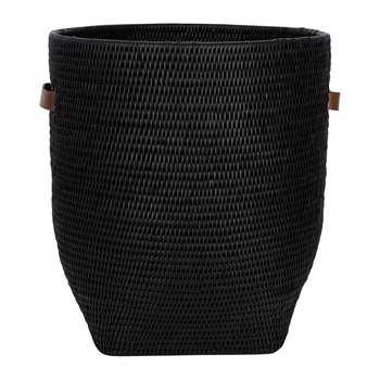 Baolgi - Laundry Basket with Leather Handles - Black (H43 x W38 x D38cm)