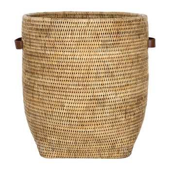 Baolgi - Laundry Basket with Leather Handles - Natural (H43 x W38 x D38cm)