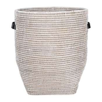Baolgi - Laundry Basket with Leather Handles - White (H43 x W38 x D38cm)
