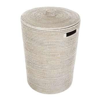 Baolgi - Rattan Laundry Basket - White (H50 x W40 x D40cm)