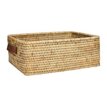 Baolgi - Rectangular Basket with Leather Handles - Natural (H12 x W33 x D25cm)