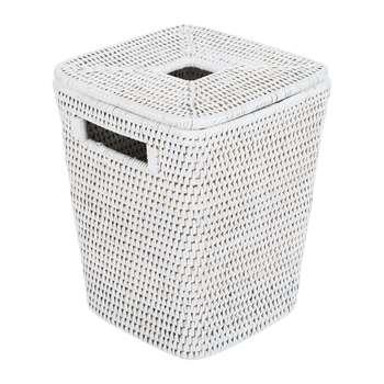 Baolgi - Square Lidded Waste Bin - White (H25 x W20 x D20cm)