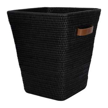 Baolgi - Square Waste Bin with Leather Handles - Black (H35 x W30 x D30cm)