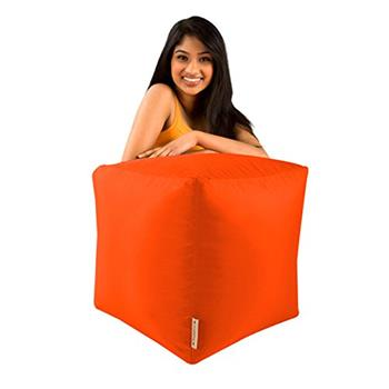 BAR B CUBE Beanbag Stool ORANGE - Outdoor & Indoor Use - Waterproof Bean Bags