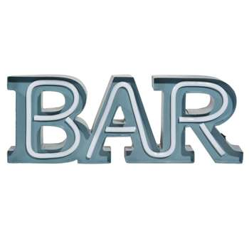 BAR Metal Light Up Word Decoration In Blue (17 x 47cm)