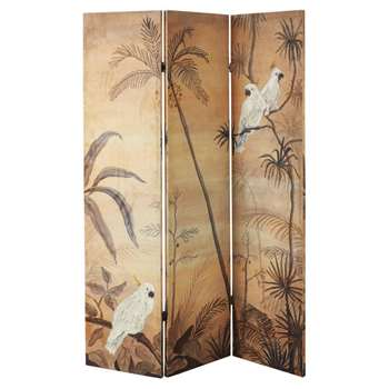 BAR Mustard Yellow Velvet Room Divider with Tropical Landscape Print (H181 x W122 x D2.5cm)