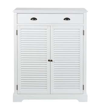 BARBADE White 2-Door 1-Drawer Shoe Organiser (H120 x W93 x D36cm)