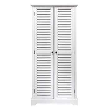 BARBADE White 2-Door Wardrobe (H180 x W86 x D57cm)
