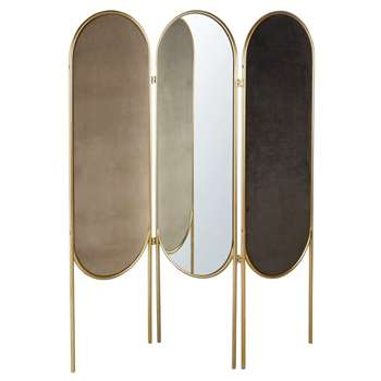 BARBARA - Gold Metal and Velvet Room Divider with Mirror (H166 x W145 x D2cm)