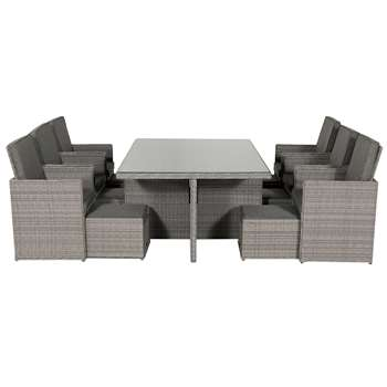 Barcelona 13 Piece Rattan Garden Cube Set in Grey (73 x 180cm)