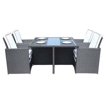 Barcelona 5 Piece Rattan Garden Cube Set in Black and Vanilla (73 x 120cm)