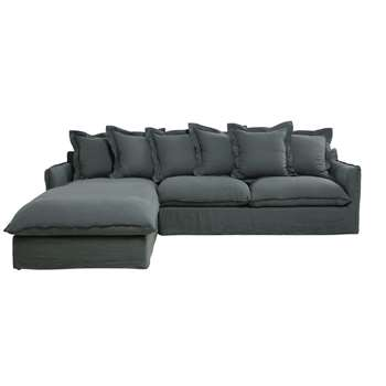 BARCELONE Anthracite 7-Seater Washed Linen Left Hand Corner Sofa (86 x 294cm)