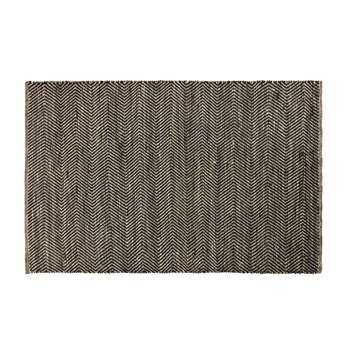 BARCELONE - Black and Brown Cotton and Jute Rug with Chevron Print (H140 x W200 x D2cm)