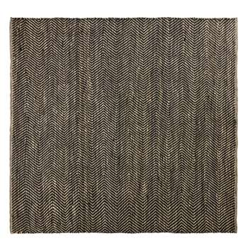 BARCELONE - Black and Brown Cotton and Jute Rug with Chevron Print (H200 x W200 x D2cm)