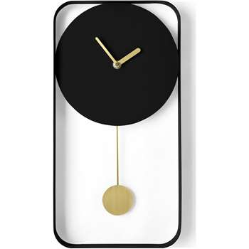 Bard Pendulum Wall Clock, Matt Black & Brass (H41 x W21 x D5cm)