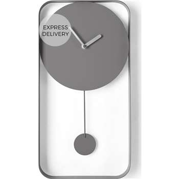 Bard Pendulum Wall Clock, Matt Grey (H41 x W21 x D5cm)