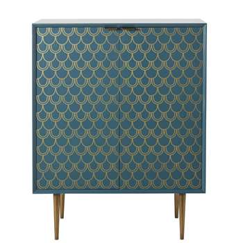 BARRACUDA - Turquoise Blue 2-Door Sideboard with Gold Graphic Print (H90 x W70 x D38cm)