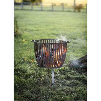 Barrington Fire Pit, Large - Raw Metal (66 x 62cm)