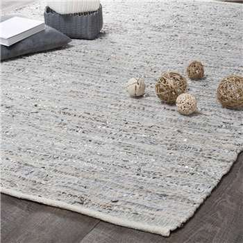 BASICS leather rug in beige and grey 140 x 200cm