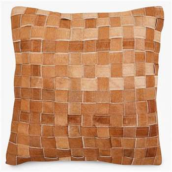 Basket Weave Hide Cushion - Tan