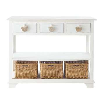 BASSE COUR Wooden console table in white (Width 108cm)