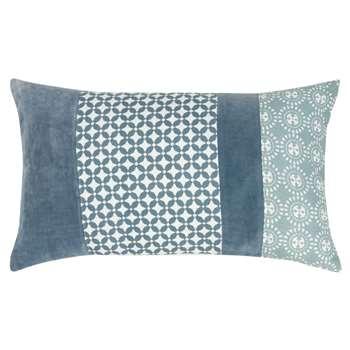 BASSENGE - Blue Cotton Cushion Cover with Print (H30 x W50cm)