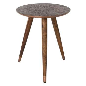 Bast Side Table in Embossed Copper Finish (50 x 40cm)